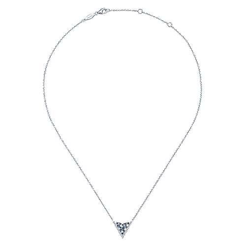 14K W.Gold Diamond & Sapphire Necklace angle 2
