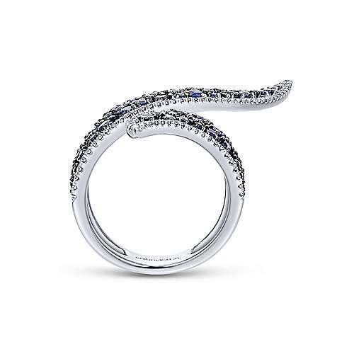 14K W.Gold Diamond & Sapphire Ring angle 2
