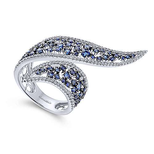 14K W.Gold Diamond & Sapphire Ring angle 3