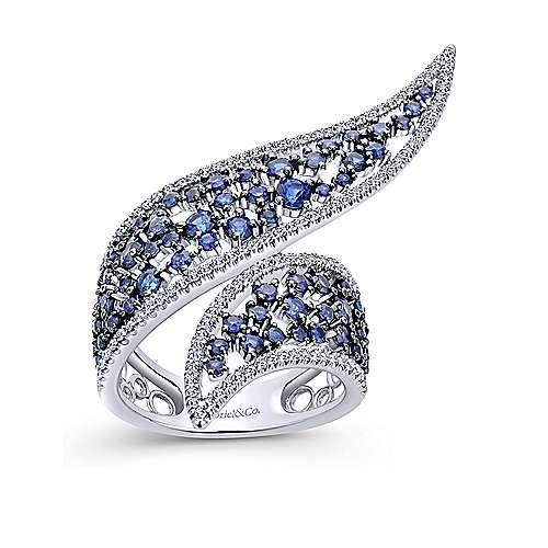 14K W.Gold Diamond & Sapphire Ring angle 4