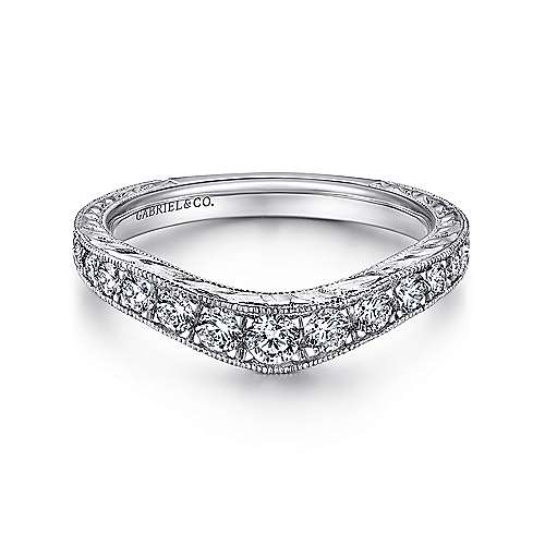Gabriel - 14k White Gold Victorian Curved Anniversary Band