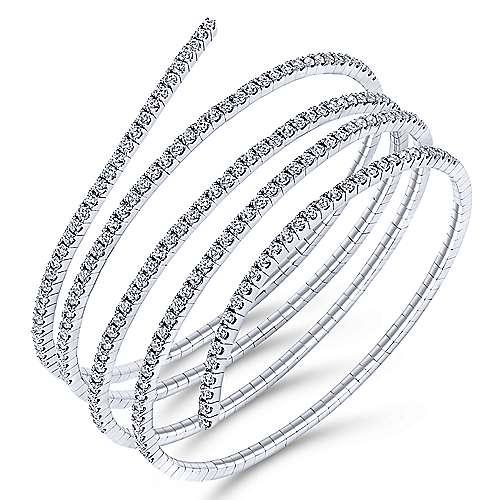 14K W.Gold Diamond Bangle angle 2