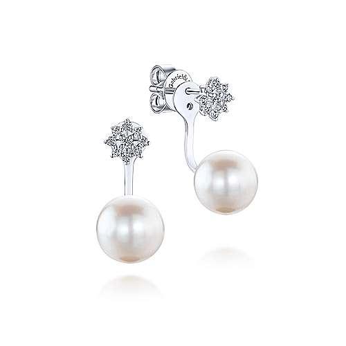 Gabriel - 14k White Gold Grace Peek A Boo Earrings