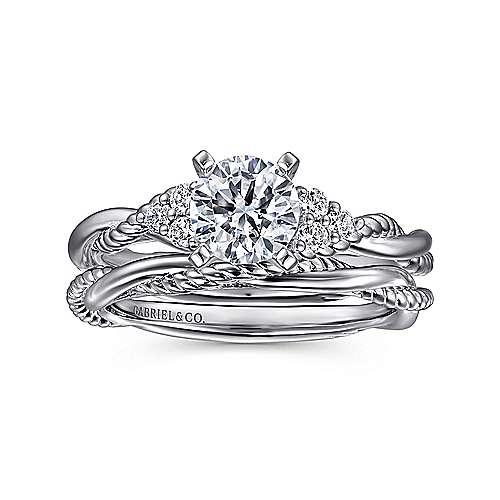 14K W.Gold Diamond Eng Ring angle 4