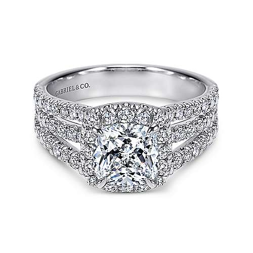 Gabriel - 14k White Gold Contemporary Engagement Ring