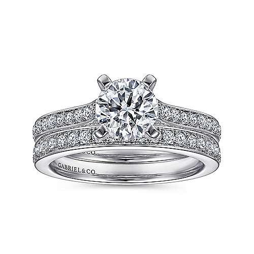 14K W.Gold Diamond Eng.Ring angle 4