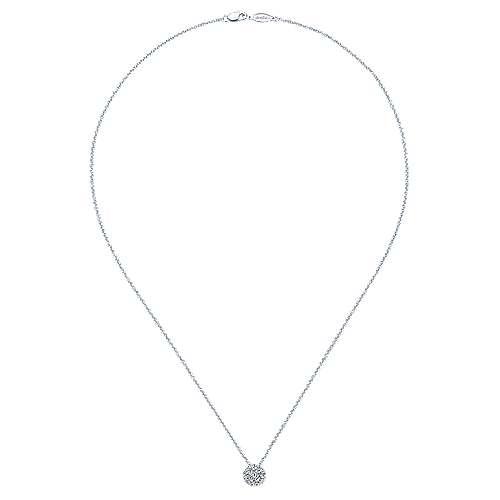 14K W.Gold Diamond Necklace angle 2