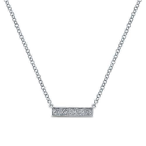Gabriel - 14k White Gold Indulgence Bar Necklace