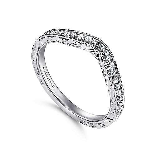 14K W.Gold Diamond Wed. Band angle 3