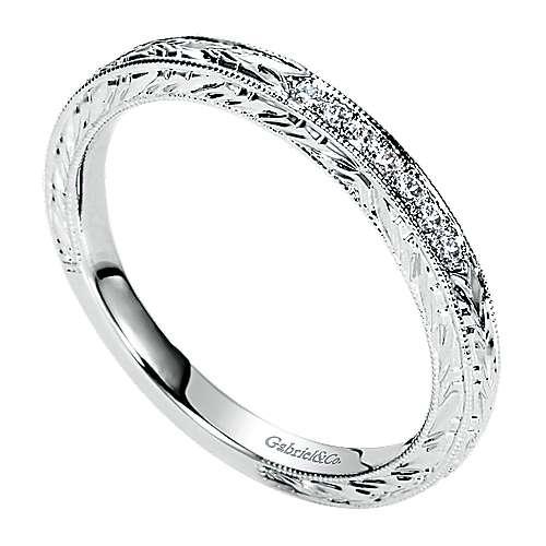 14K W.Gold Diamond Wedding Band angle 3
