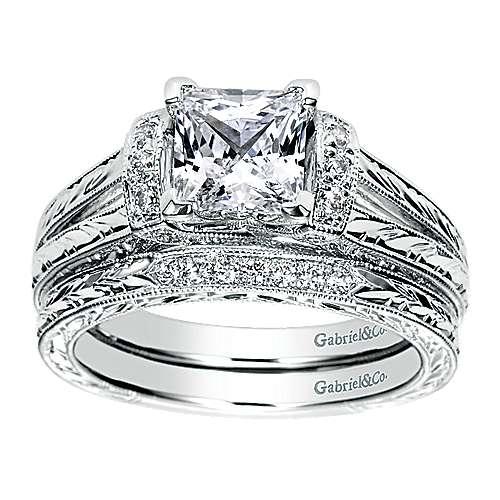 14K W.Gold Diamond Wedding Band angle 4