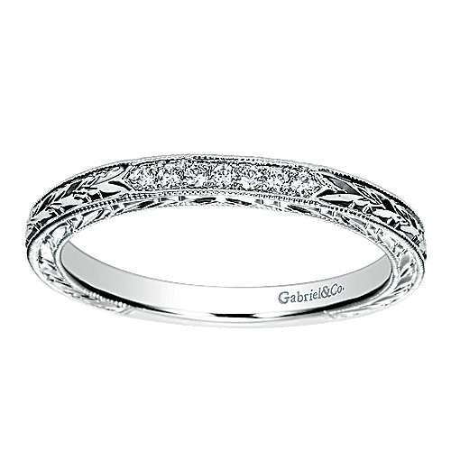 14K W.Gold Diamond Wedding Band angle 5