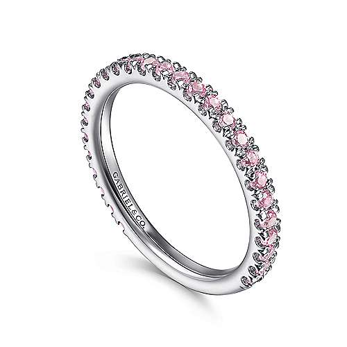 14K W.Gold Pink CZ Ring angle 3