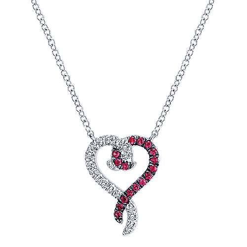 14K W.Gold Ruby&Dia Necklace