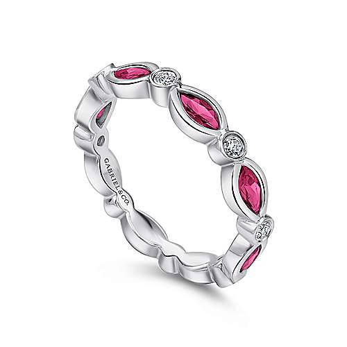 14K W.Gold Ruby&Dia Ring angle 3