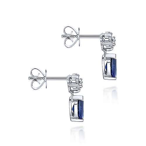 14K W.Gold Sapphire & Diamond Earrings    angle 3