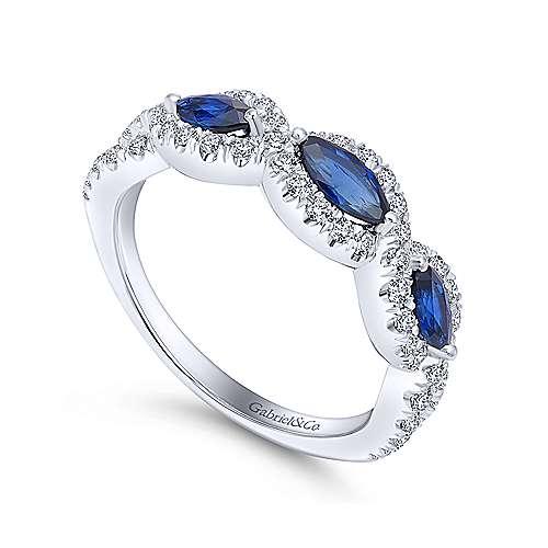 14K W.Gold Sapphire & Diamond Ring angle 3