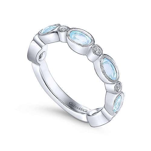 14K W.Gold,SkyBlueTop,Diamond Ring   angle 3