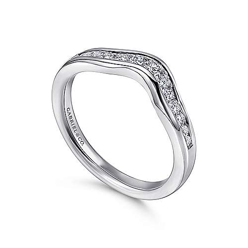 14K White Gold  Contemporary Channel Set Curved  Diamond Band angle 3
