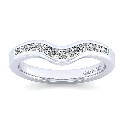 14K White Gold  Contemporary Channel Set Curved  Diamond Band angle 5