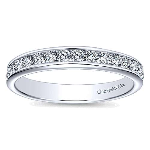 14K White Gold  Contemporary Channel Set Straight  Diamond Band angle 5