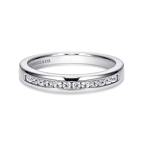14K White Gold  Contemporary Channel Set Straight Diamond Band angle 1