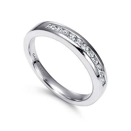 14K White Gold  Contemporary Channel Set Straight Diamond Band angle 3