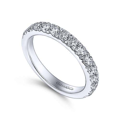 14K White Gold  Contemporary Fishtail Pave Straight Diamond Band angle 3
