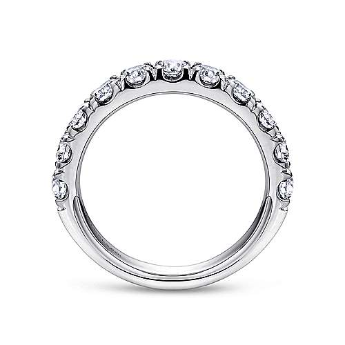 14K White Gold  Contemporary French Pave Straight  Diamond Band angle 2