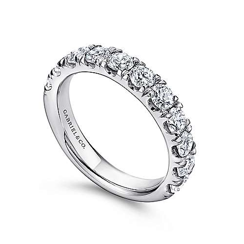 14K White Gold  Contemporary French Pave Straight  Diamond Band angle 3