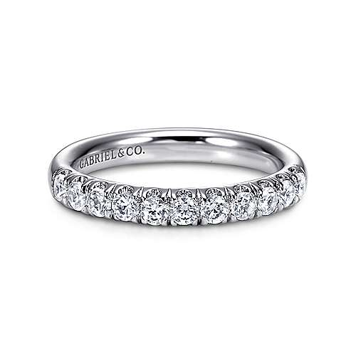 14K White Gold  Contemporary French Pave Straight  Diamond Band angle 1