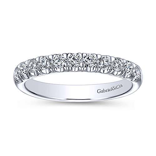 14K White Gold  Contemporary French Pave Straight  Diamond Band angle 5