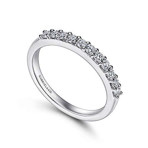 14K White Gold  Contemporary Shared Prong Straight  Diamond Band angle 3