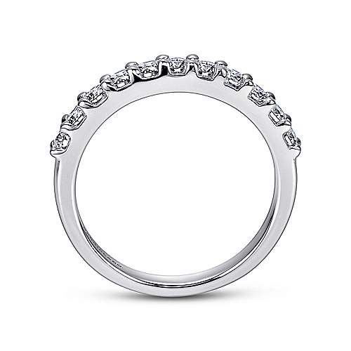 14K White Gold  Contemporary Shared Prong Straight  Diamond Band angle 2