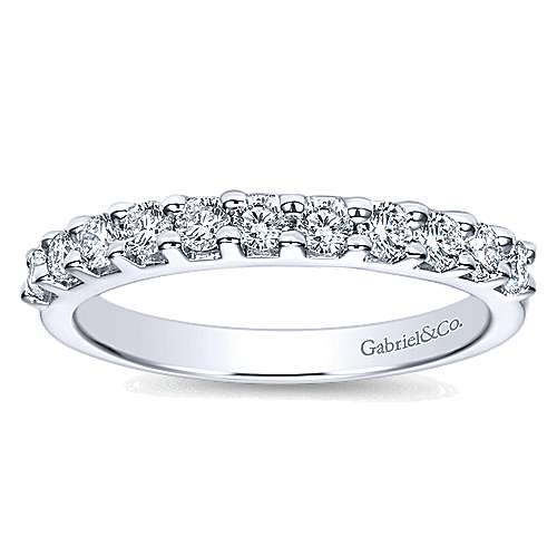 14K White Gold  Contemporary Shared Prong Straight  Diamond Band angle 5