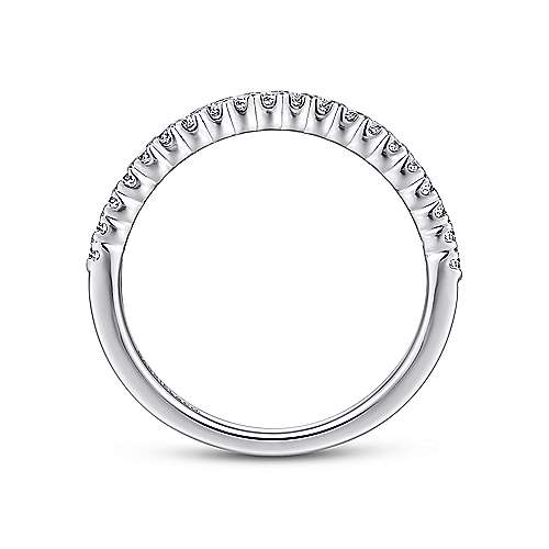 14K White Gold  Contemporary Tiger Claw Straight  Diamond Band angle 2