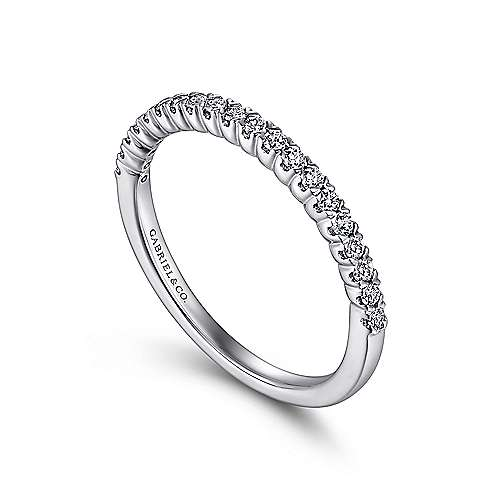 14K White Gold  Contemporary Tiger Claw Straight  Diamond Band angle 3