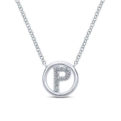 de7652d7a45 14K White Gold Diamond P Initial Necklace - NK4522P-W45JJ