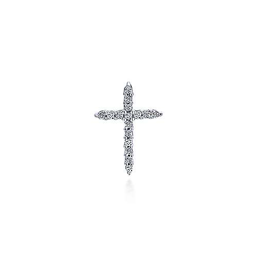 14K White Gold  Fashion Cross Pendant