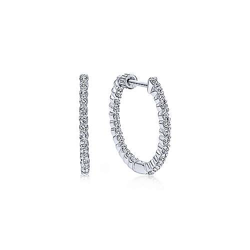 14K White Gold 20mm Round Inside Out Prong Set Diamond (0.5ct.) Hoop Earrings