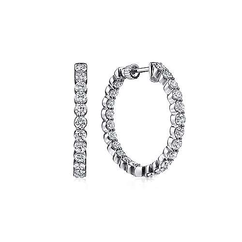 14K White Gold 20mm Round Inside Out Prong Set Diamond (2ct.) Hoop Earrings