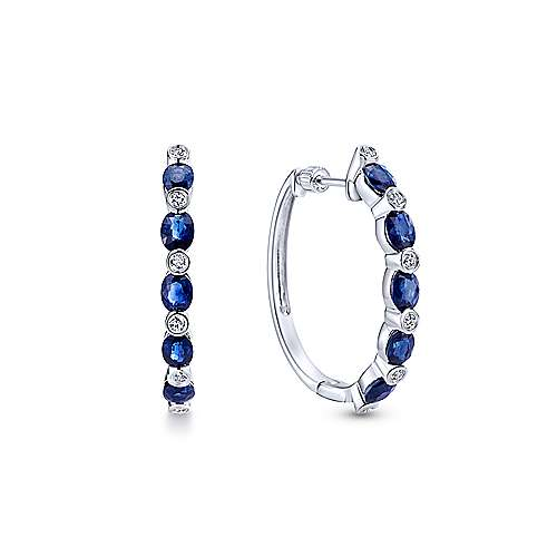 14K White Gold 25mm Round Classic Diamond & Sapphire Hoop Earrings
