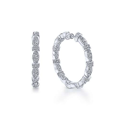 14K White Gold 25mm Round Classic Prong Set Diamond (.55ct) Hoop Earrings