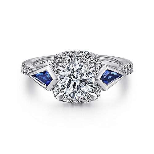 14K White Gold 3 Stone Sapphire and Diamond Engagement Ring