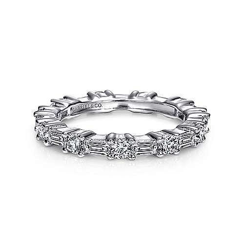 14K White Gold Baguette and Round Prong Set Diamond Eternity Band