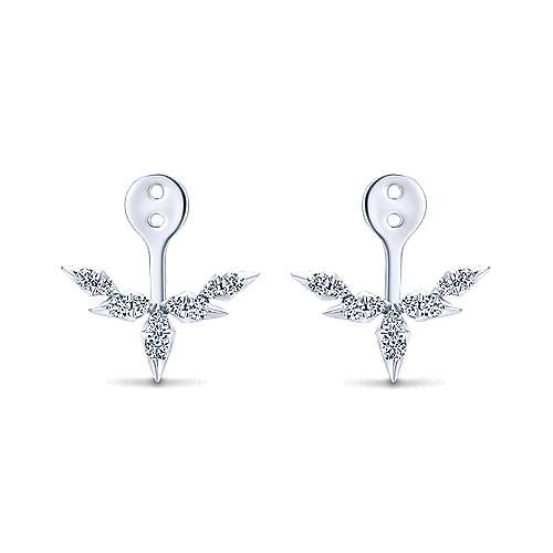 14K White Gold Branching Diamond Enhancer Earrings angle 1