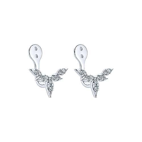 14K White Gold Branching Diamond Enhancer Earrings angle 2