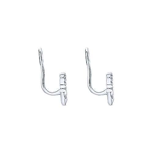 14K White Gold Branching Diamond Enhancer Earrings angle 3