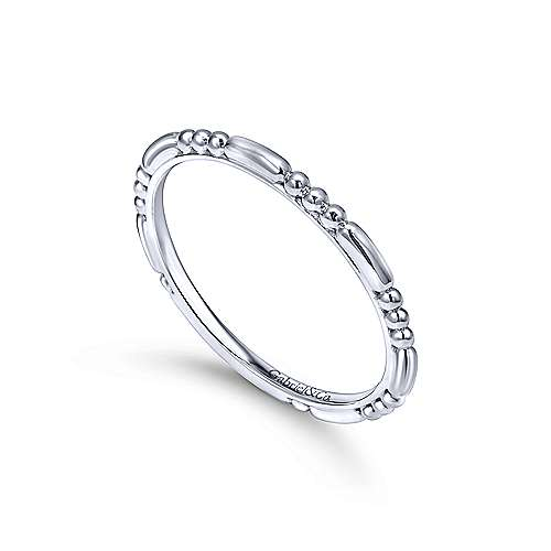 14K White Gold Bujukan Bead Station Stackable Ring