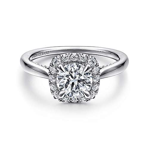Gabriel - 14K White Gold Cushion Halo Round Diamond Engagement Ring